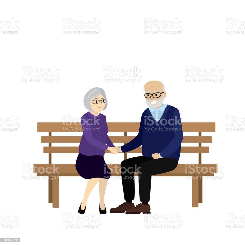 Op Een Bankje.Cartoon Paar Van Oude Mensen Op Een Bankje Zitten Stockvectorkunst