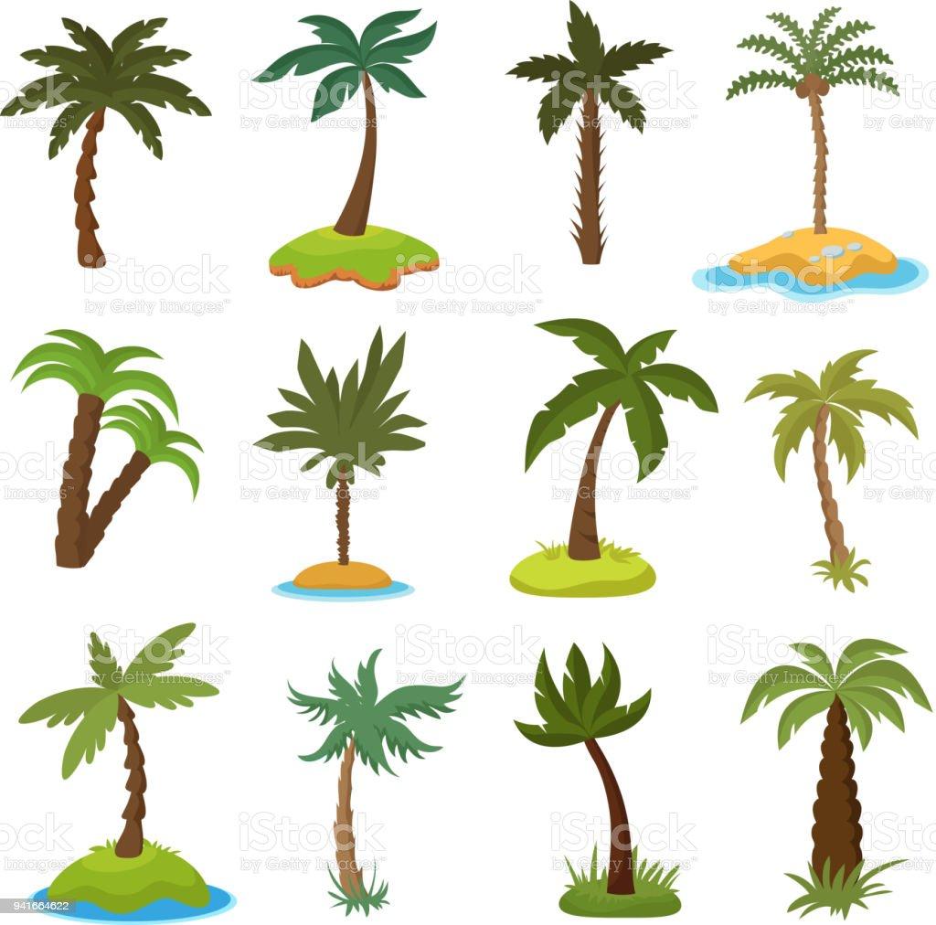 Dessin animé palmiers sur set vector îles exotiques tropicales dessin animé palmiers sur set vector îles exotiques tropicales vecteurs libres de droits et plus d'images vectorielles de arbre libre de droits