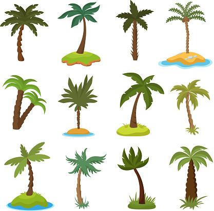 Cartoon Palmer På Tropiska Exotiska Öar Vektor Set-vektorgrafik och fler bilder på Beskrivande färg