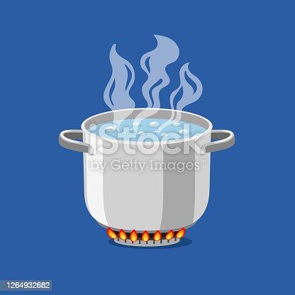 istock Cartoon pan on fire 1264932682