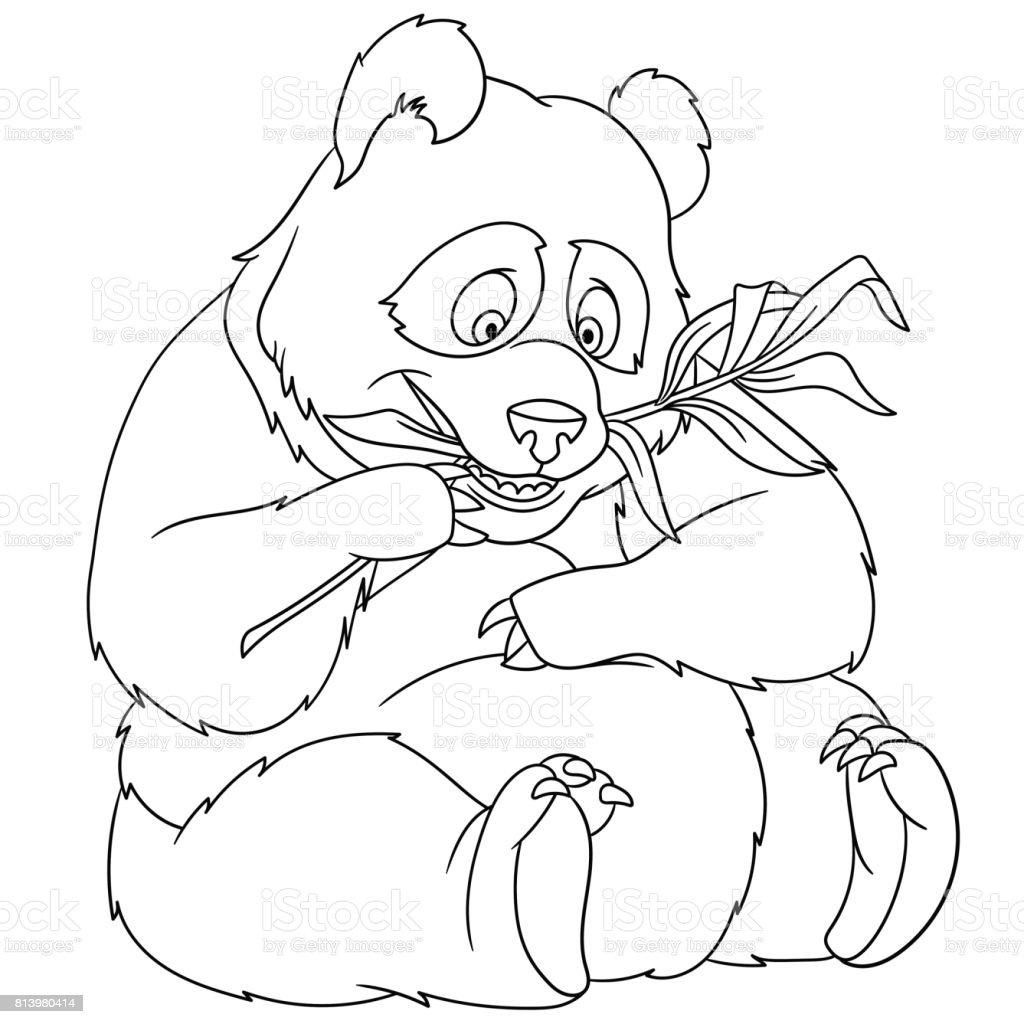 çizgi Film Ayı Panda Boyama Sayfası Stok Vektör Sanatı Animasyon