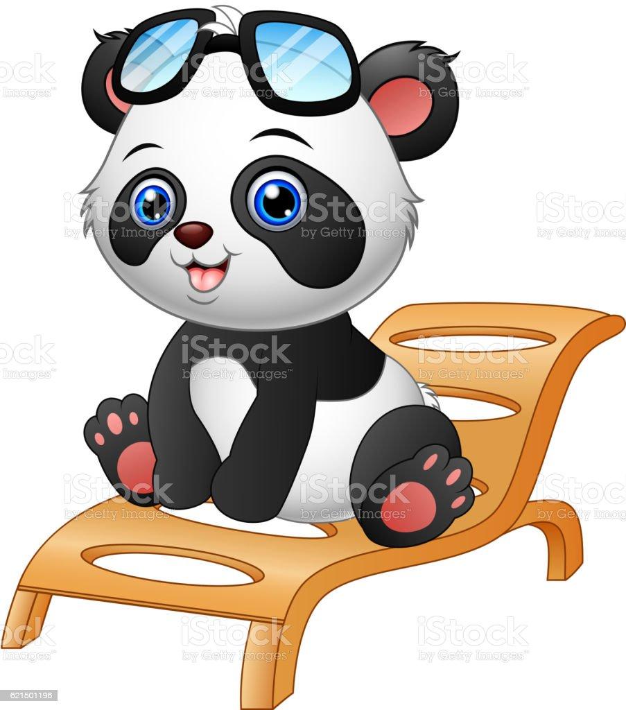Cartoon panda bear sitting on deck chair isolated on white background cartoon panda bear sitting on deck chair isolated on white background – cliparts vectoriels et plus d'images de assis libre de droits