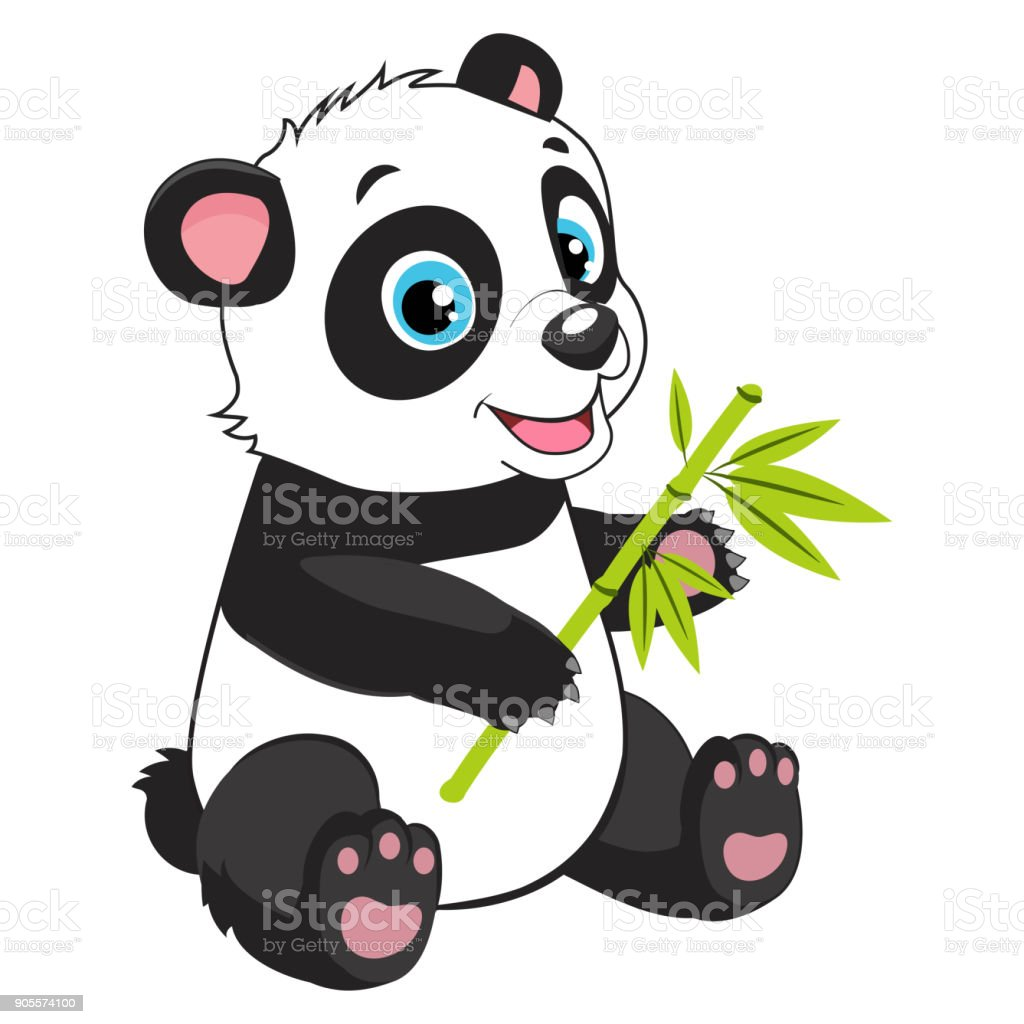 Vetores De Desenho Animado Panda Come Bambu Ramo Ilustracao