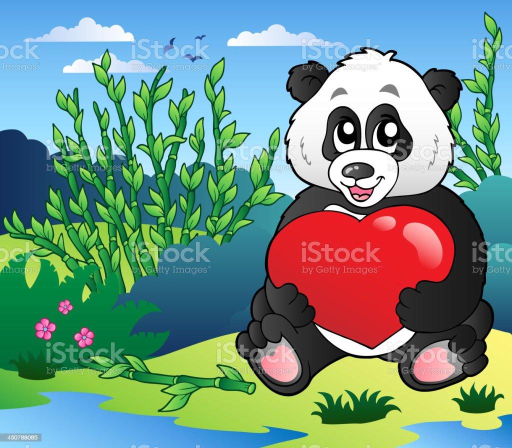 Cartoon panda holding heart outdoor royalty-free stock vector art