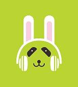 Cartoon Panda wearing a  Rabbit's headset, , enjoy the music,vector