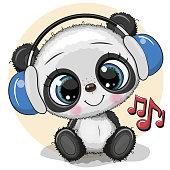 Cute cartoon Panda with headphones on a yellow background