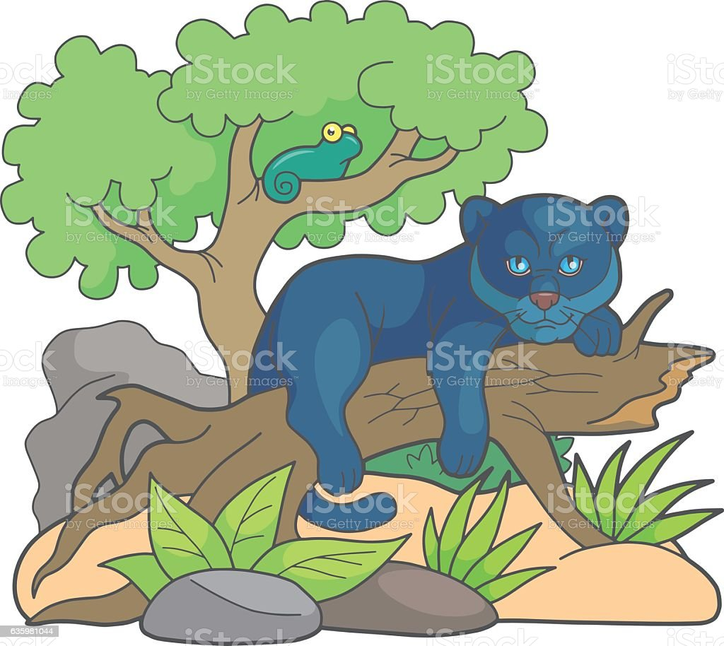 cartoon panther vector art illustration
