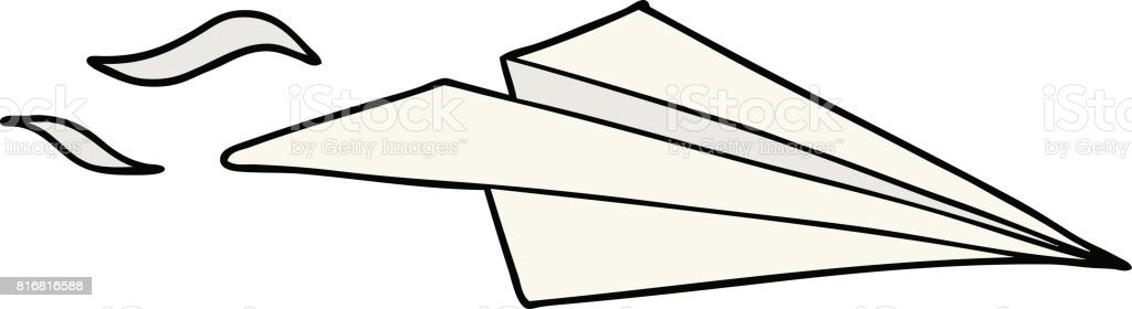 cartoon paper airplane stock vector art more images of airplane rh istockphoto com paper airplane cartoon cute paper airplane cartoon cute