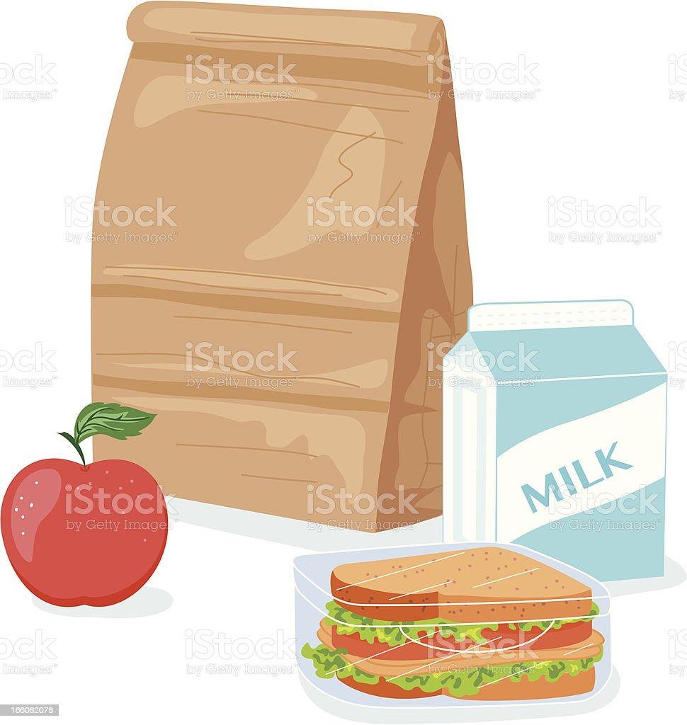 Cartoon Paper Bag Lunch Illustration vector art illustration