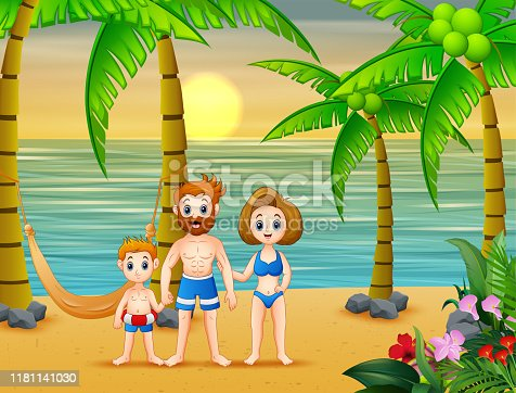 Cartoon parents with child having fun on vacation