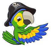 A cartoon parrot bird character mascot in a pirate hat peeking around a sign and pointing with a wing