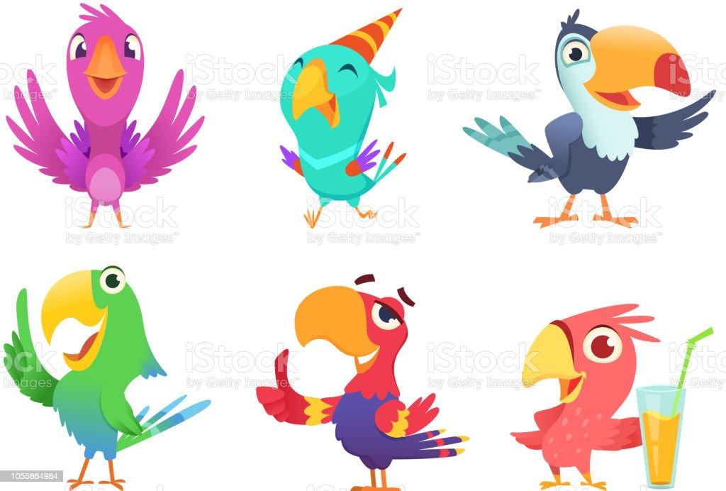 Ilustración De Dibujos Animados Loros Caracteres Pájaros Con Plumas