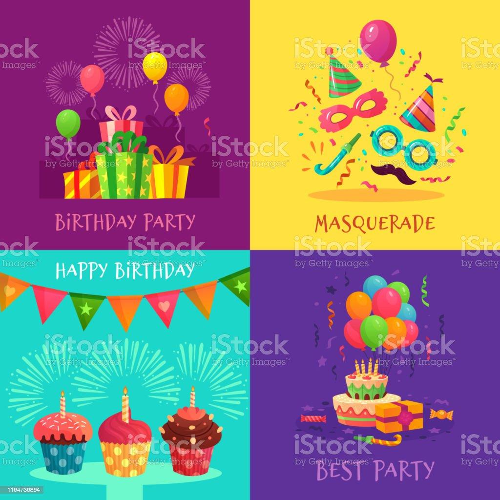 Vetores De Cartões Do Convite Do Partido Dos Desenhos