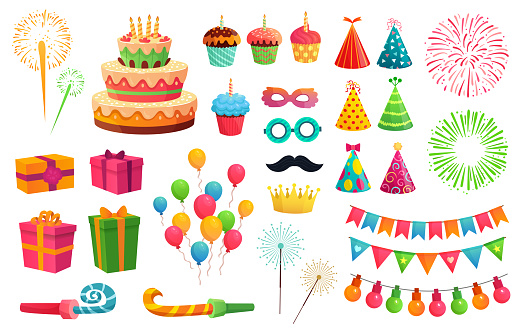 Cartoon party kit. Rocket fireworks, colorful balloons and birthday gifts. Carnival masks and sweet cupcakes vector illustration set