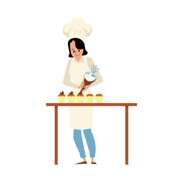 Cartoon pastry chef putting icing on cupcake - woman in cook uniform Cartoon pastry chef putting icing on cupcake - woman in cook uniform standing by table and using piping bag to decorate dessert muffins. Flat isolated vector illustration. decorating a cake stock illustrations