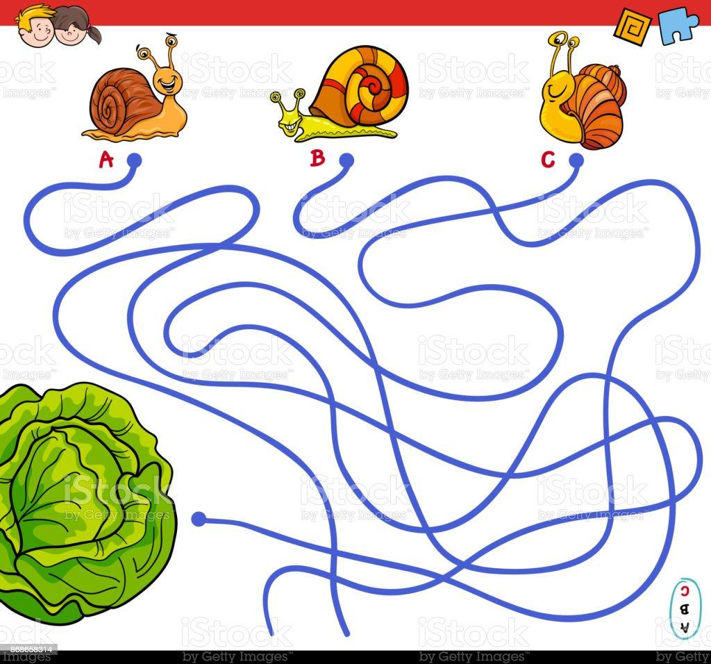 Ilustración de Dibujos Animados Juego De Laberinto De Caminos Con ...