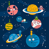 cartoon pattern with aliens on a spaceship and planets in space vector