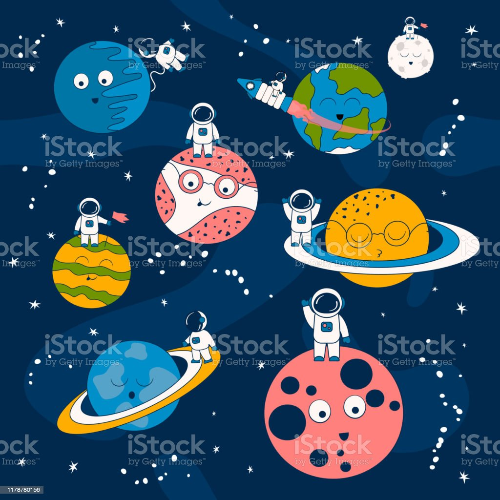 宇宙船や宇宙の惑星上の宇宙飛行士と漫画のパターン宇宙飛行士と星を持つ未来的な背景子供のためのギャラクシー壁紙 イラストレーションのベクターアート素材や画像を多数ご用意 Istock