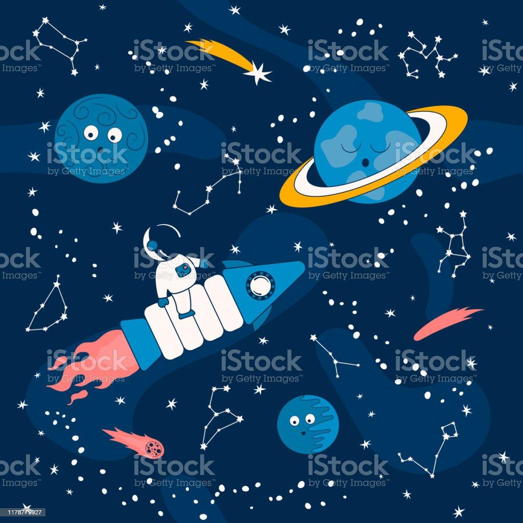 土星や他の惑星と宇宙空間の宇宙船上の宇宙飛行士と漫画のパターン宇宙