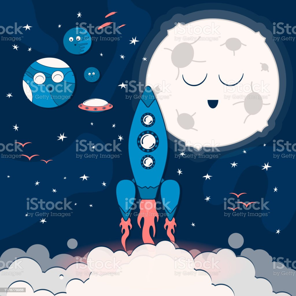 cartoon pattern with spaceship in the clouds flying to the outer or vector id1178779968