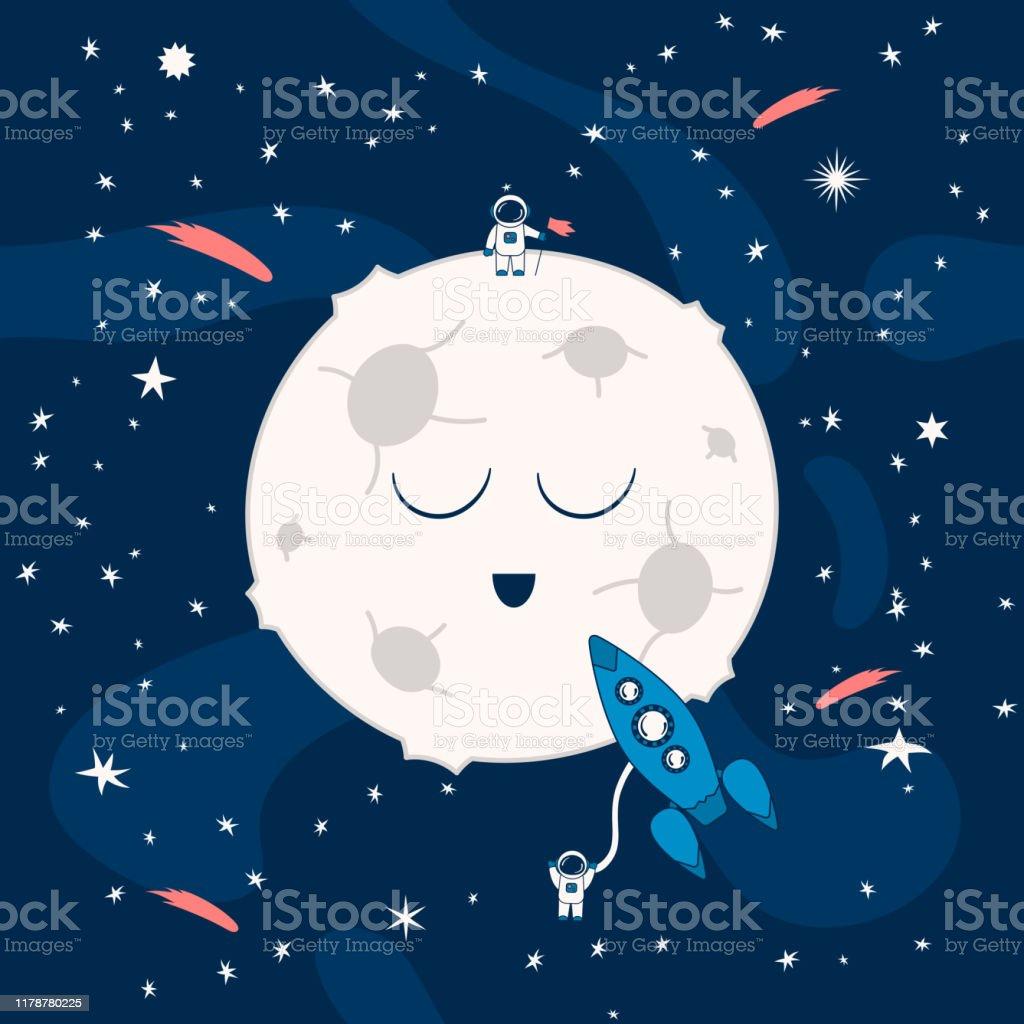 月の近くの夜空間で宇宙船と漫画のパターン宇宙飛行士彗星や星と未来的な背景子供のためのギャラクシー壁紙 イラストレーションのベクターアート素材や画像を多数ご用意 Istock