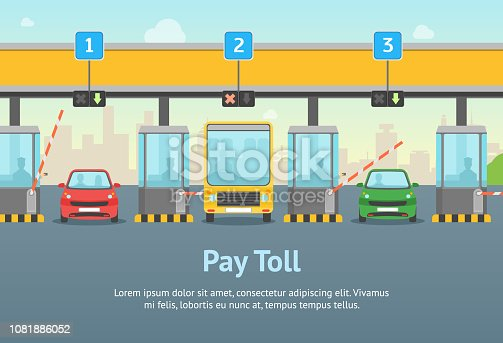 Cartoon Pay Road Toll Card Poster and Text Highway Traffic Transport Concept Flat Design Style for Ad. Vector illustration of Gate