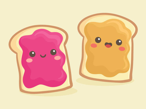 stockillustraties, clipart, cartoons en iconen met cartoon pinda boter en jelly jam sandwich vector - pinda voedsel