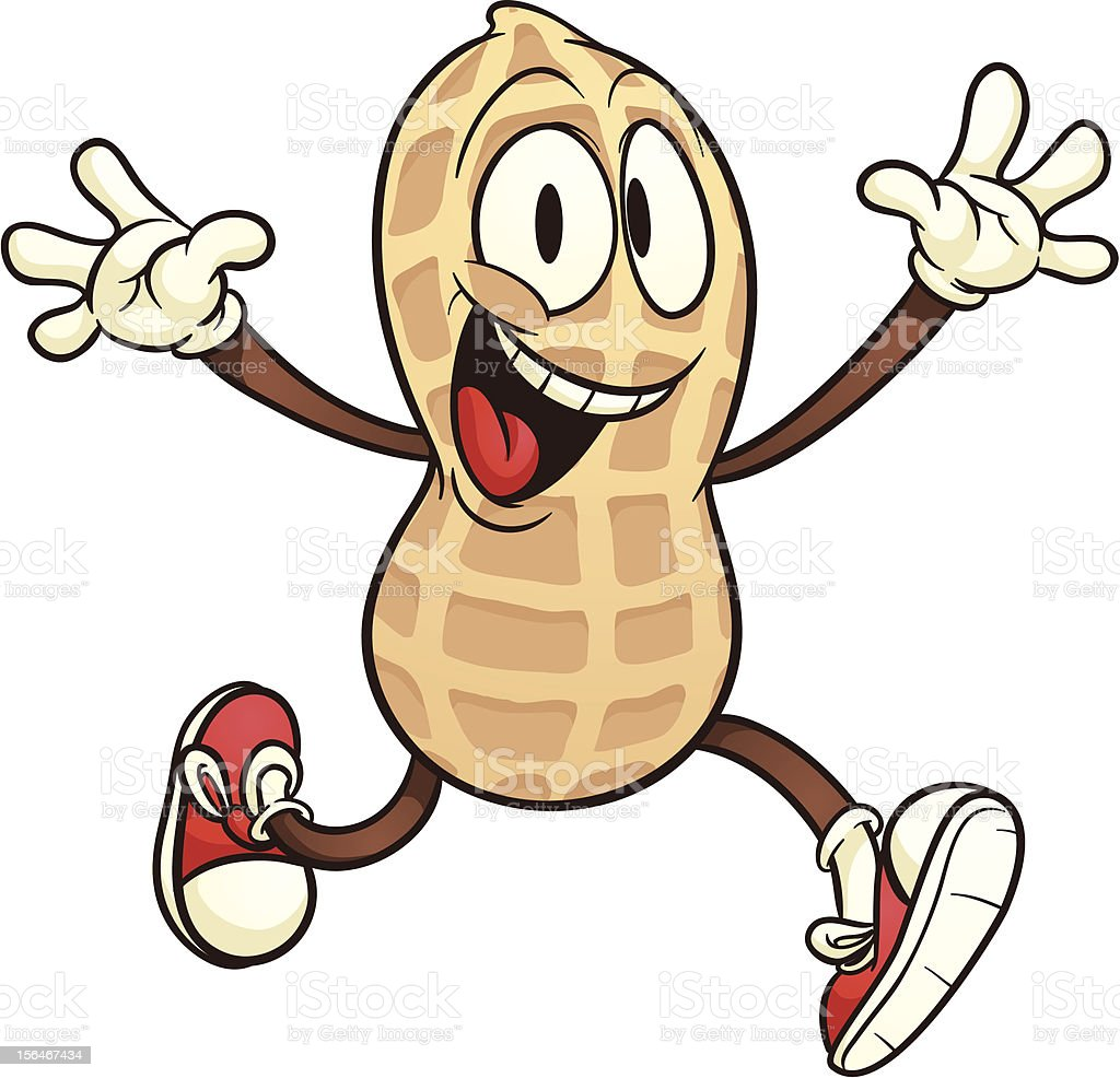Cartoon peanut vector art illustration