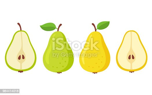 Cartoon pears set. Green and yellow pear, whole and cut in half. Isolated vector illustration.