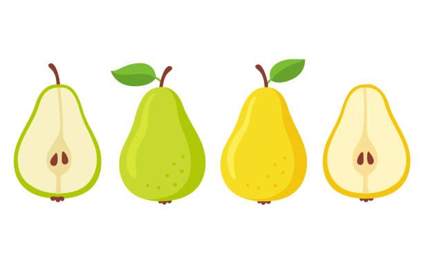 ilustrações de stock, clip art, desenhos animados e ícones de cartoon pears set - inteiro