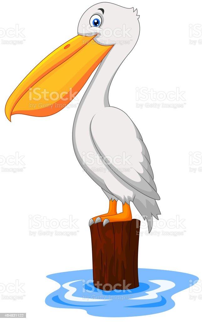 Cartoon Pelican in the bay vector art illustration