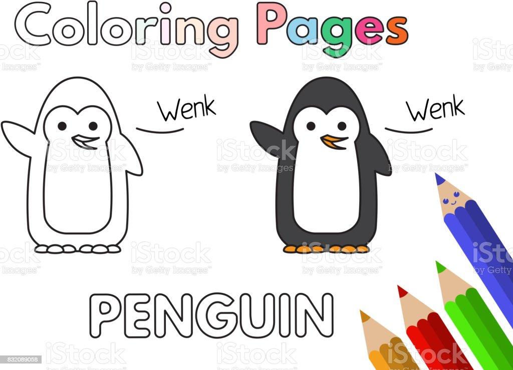 Vetores De Livro De Colorir Desenhos Animados Pinguim E Mais