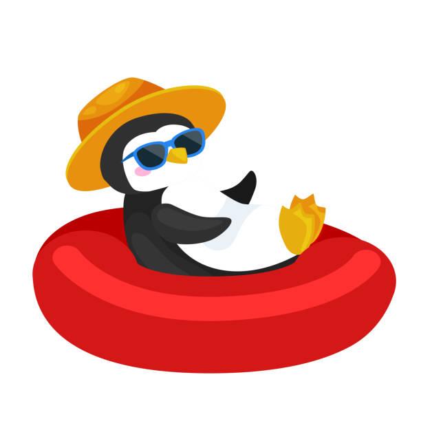 stockillustraties, clipart, cartoons en iconen met cartoon pinguïn in hoed zwemmen in rubberring - pinguins swimming