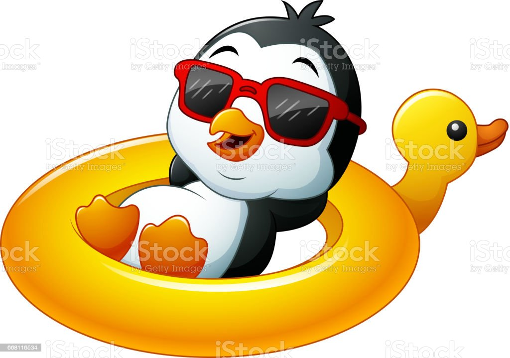 Cartoon penguin relaxing on the inflatable duck vector art illustration