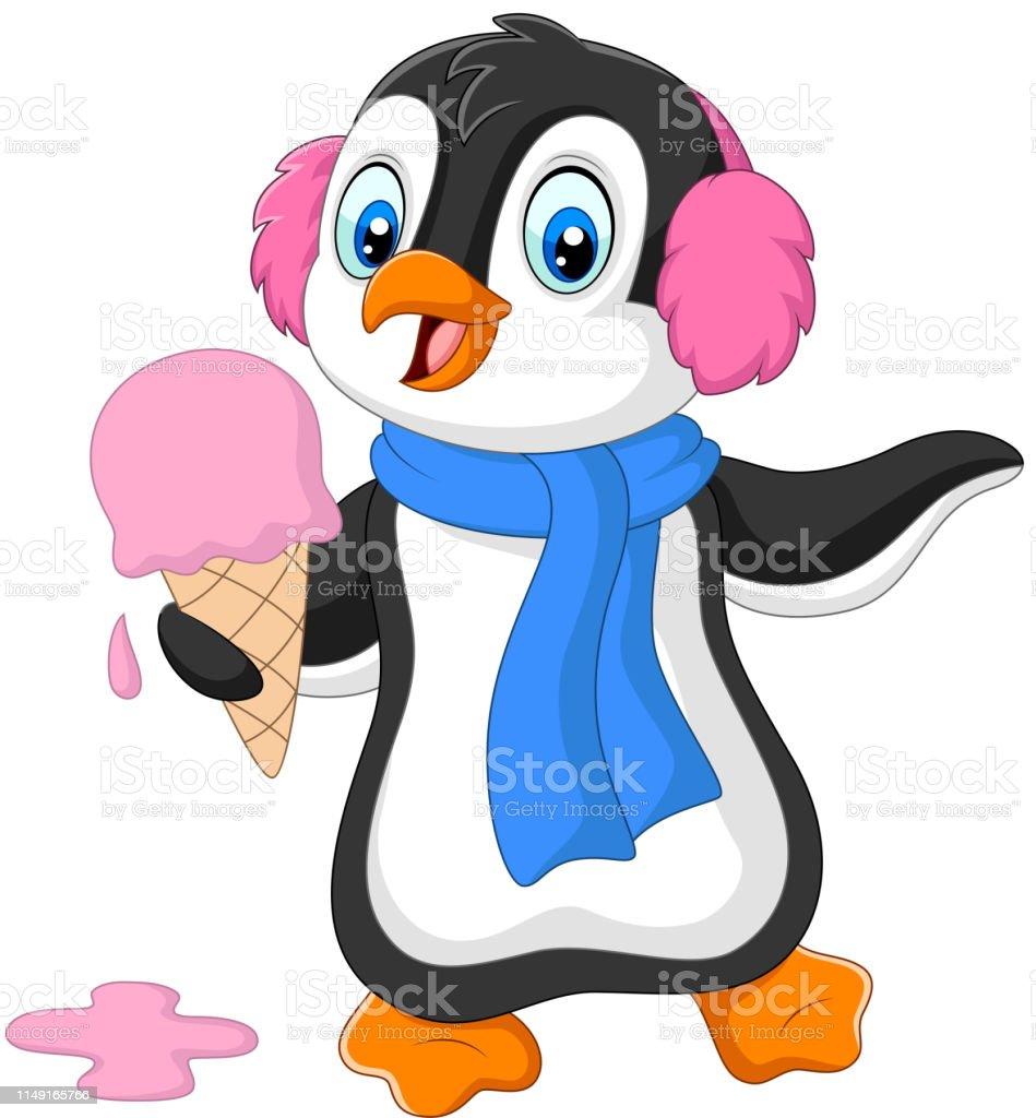 Vetores De O Pinguim Dos Desenhos Animados Com Earmuffs E Lenco