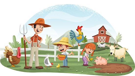 Cartoon people and animals on the farm.
