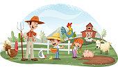 istock Cartoon people and animals on the farm. 1139691538