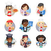 Set of avatars with people of different professions. Pizza chef, waitress, engineer, delivery girl, architect, baker, cook, sushi chef and technologist. Flat style cartoon characters. Isolated on white background.