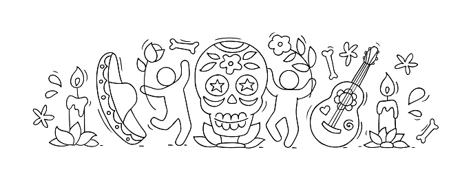 Cartoon people celebrate Day of the dead.