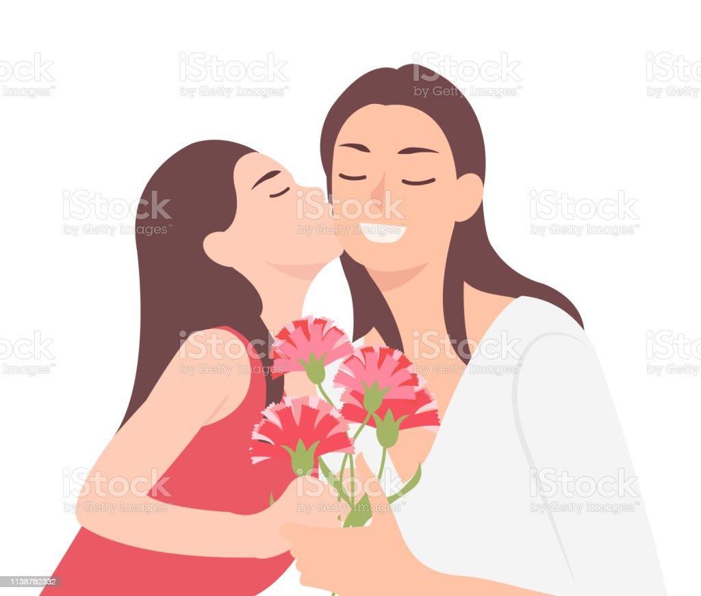 Dessin Animé Gens Personnage Conception Heureux Mères Jour