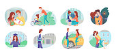 Cartoon people characters and life situations. Vector flat scene set. Parents taking care of newborn baby, kids. Student studying in university. Lady hurrying to job. Lovers relationships illustration