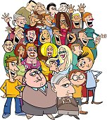 Cartoon Illustration of Different People Characters in the Crowd