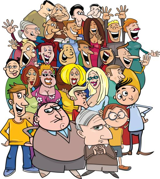 cartoon people characters in the crowd - old man face cartoon stock illustrations, clip art, cartoons, & icons