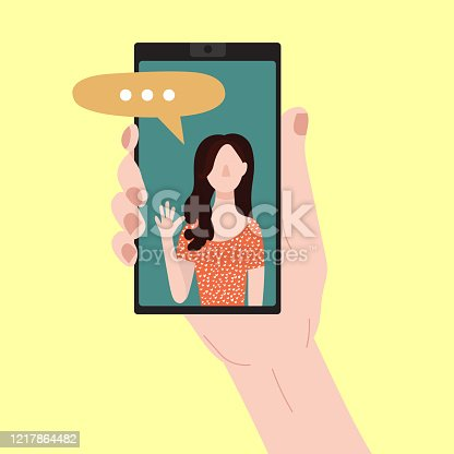 Cartoon People Chating in Messenger and Character Person Female Social Communication Friendship and Love in Messenger Concept Flat Design. Vector illustration