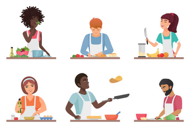 Cartoon people cooking set isolated vector illustration. Cartoon people cooking set isolated vector illustration cooking stock illustrations