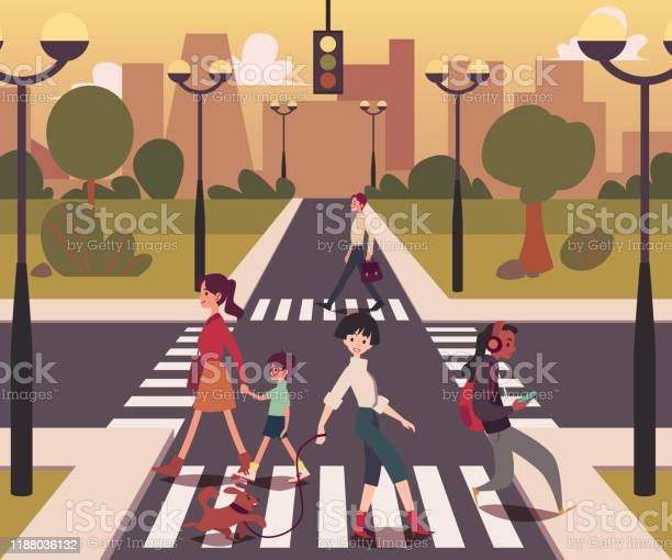 Cartoon people crossing the road men and women on empty crossroad vector id1188036132?b=1&k=6&m=1188036132&s=612x612&h=kq72gou se4zci7ozrq98hjebf3pgnq9w6yuxl8fhbi=