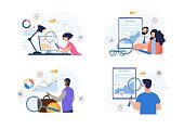 Cartoon People Characters Doing Financial Data Analysis Set. Digital Marketing and Trading Strategy. Increase Investment Revenue. Audit and Accounting. Market Analytic Report. Vector Illustration