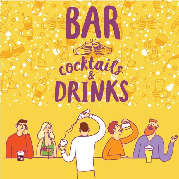 バーで飲んで漫画人 - 飲み会点のイラスト素材/クリップアート素材/マンガ素材/アイコン素材