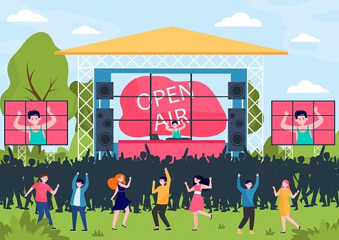 Cartoon people entertaining at open air festival