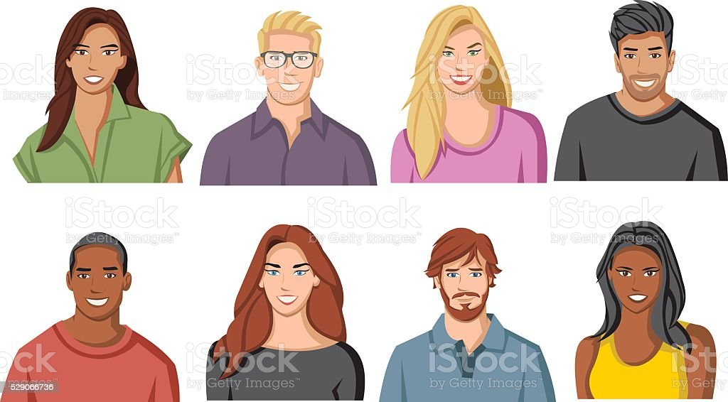 Ilustración De Caras De Dibujos Animados Personas Y Más